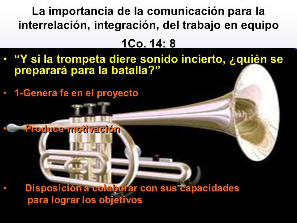 La importancia de la comunicación para la interrelación, integración, del trabajo en equipo 1Co. 14: 8