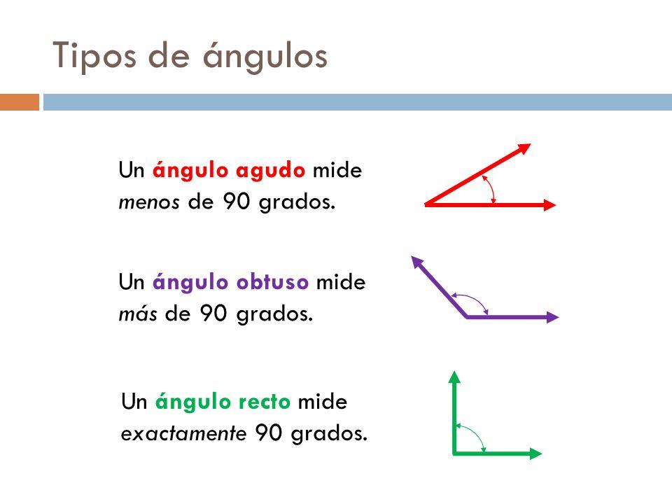 Tipos de ángulos Un ángulo agudo mide menos de 90 grados.