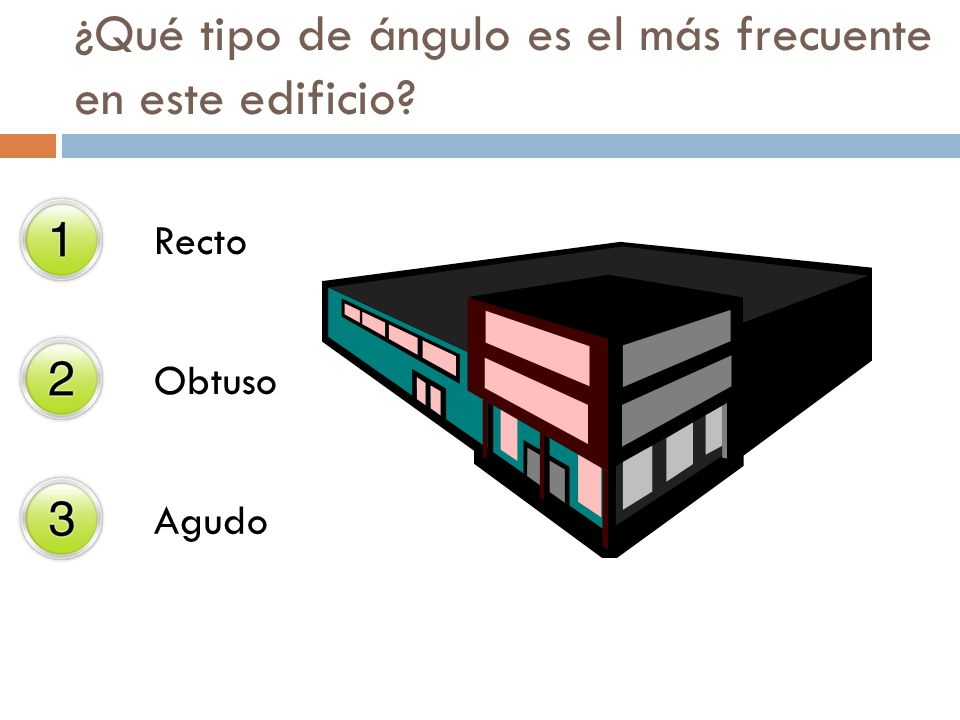 ¿Qué tipo de ángulo es el más frecuente en este edificio