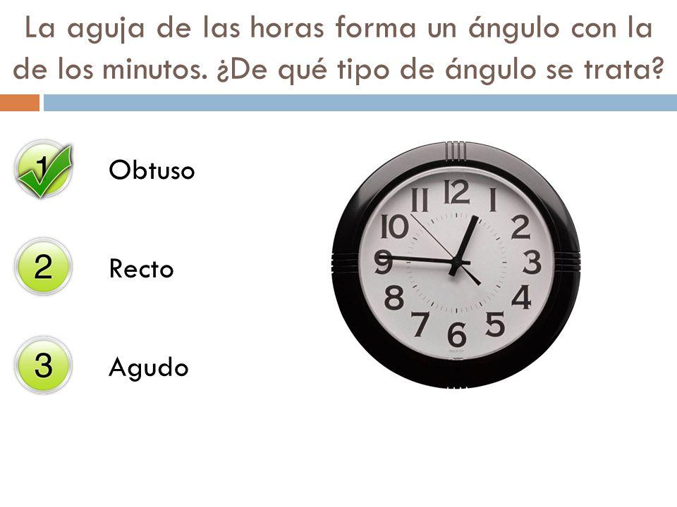 La aguja de las horas forma un ángulo con la de los minutos