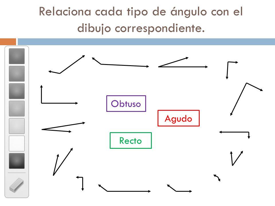 Relaciona cada tipo de ángulo con el dibujo correspondiente.