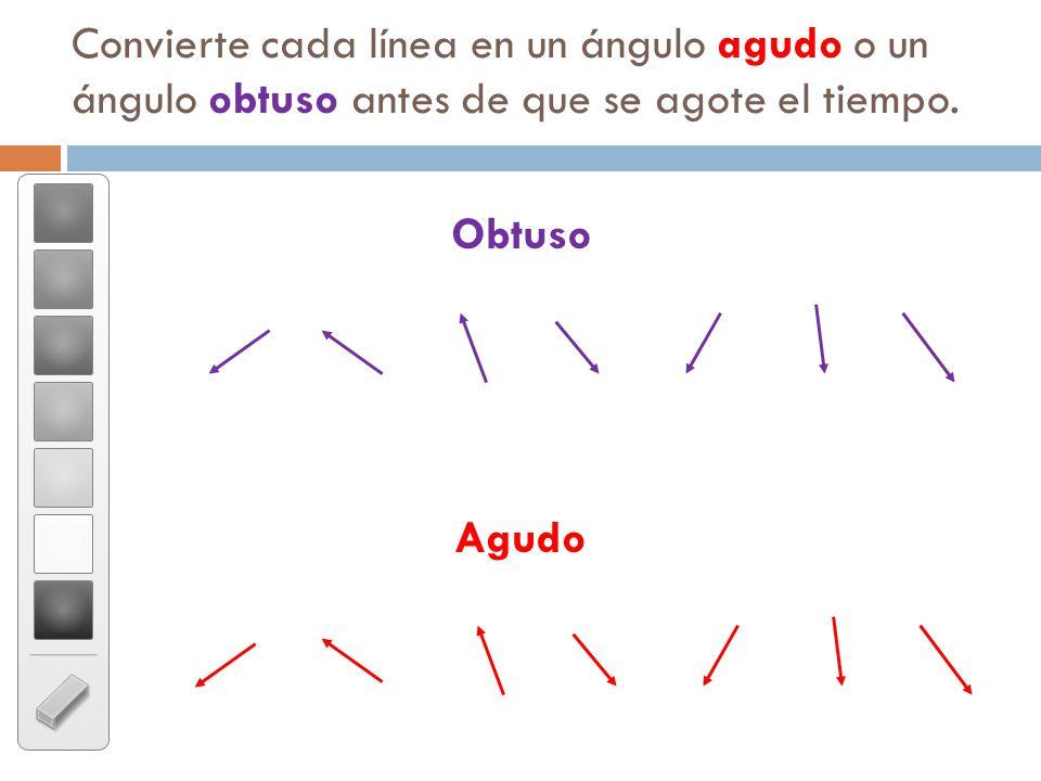 Convierte cada línea en un ángulo agudo o un ángulo obtuso antes de que se agote el tiempo.