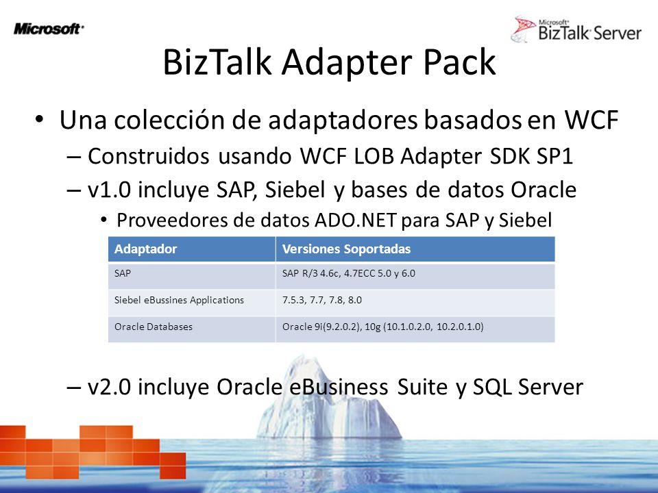 BizTalk Adapter Pack Una colección de adaptadores basados en WCF