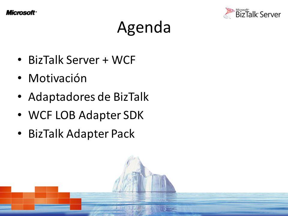 Agenda BizTalk Server + WCF Motivación Adaptadores de BizTalk