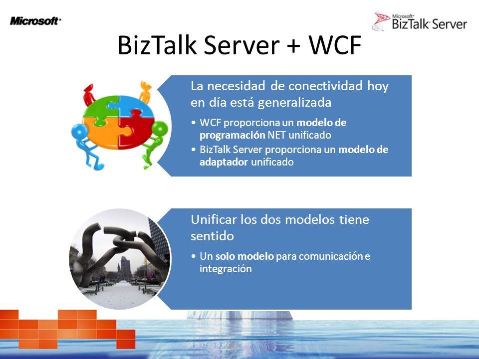 BizTalk Server + WCF La necesidad de conectividad hoy en día está generalizada. WCF proporciona un modelo de programación NET unificado.