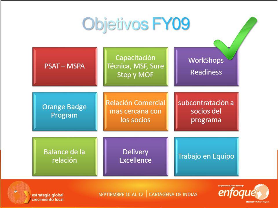 Objetivos FY09 PSAT – MSPA Capacitación Técnica, MSF, Sure Step y MOF
