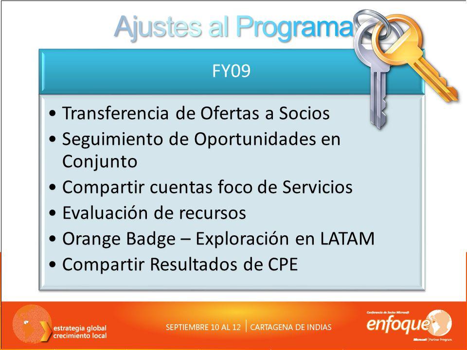 Ajustes al Programa FY09 Transferencia de Ofertas a Socios