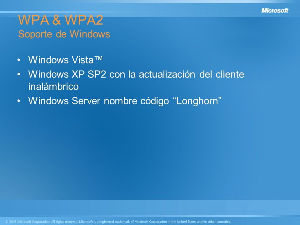 WPA & WPA2 Soporte de Windows