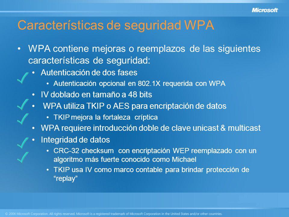 Características de seguridad WPA