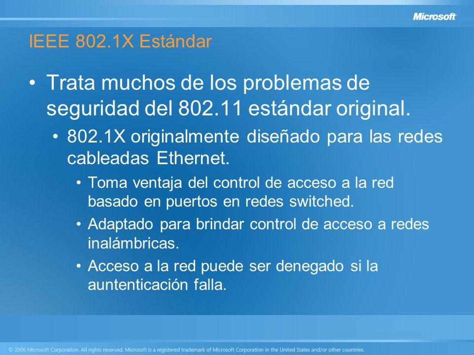 IEEE 802.1X Estándar Trata muchos de los problemas de seguridad del 802.11 estándar original.