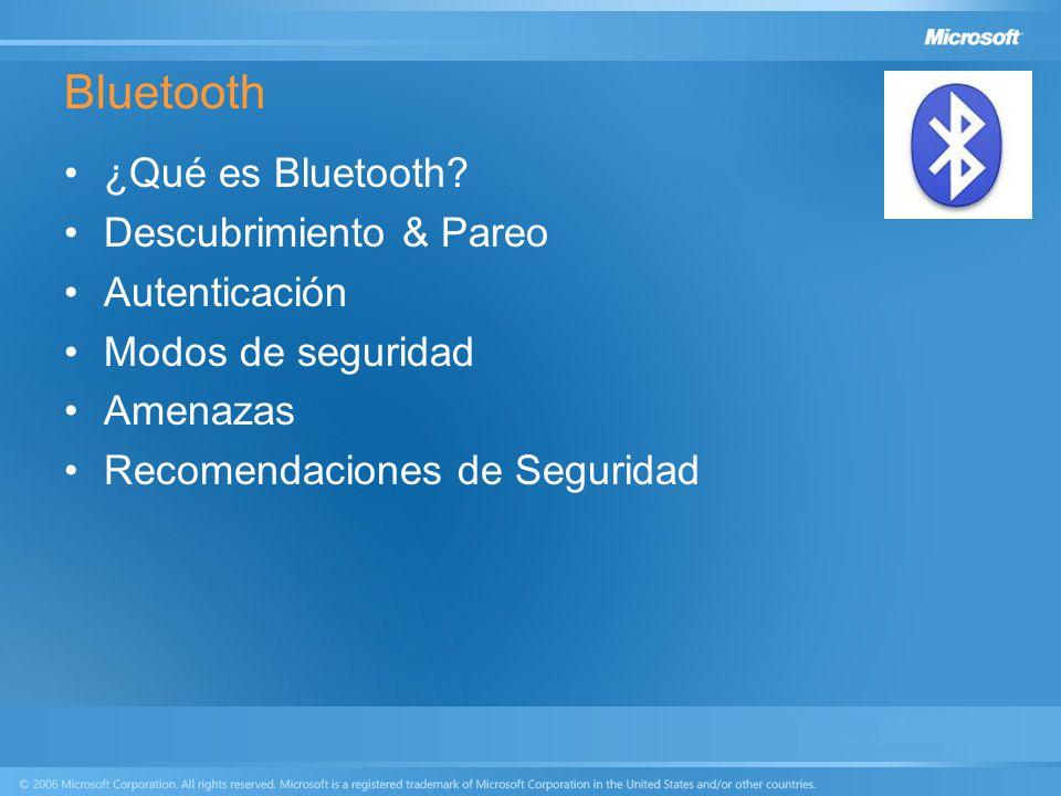 Bluetooth ¿Qué es Bluetooth Descubrimiento & Pareo Autenticación