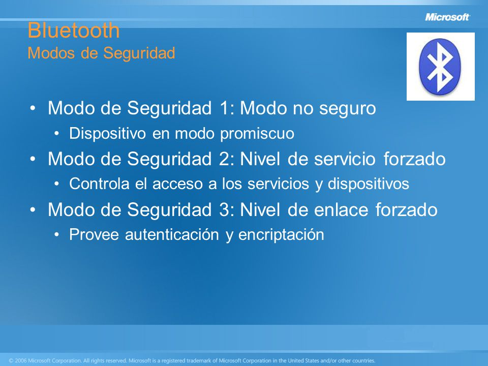 Bluetooth Modos de Seguridad