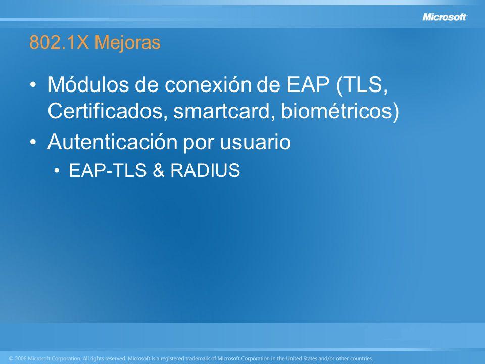 Módulos de conexión de EAP (TLS, Certificados, smartcard, biométricos)