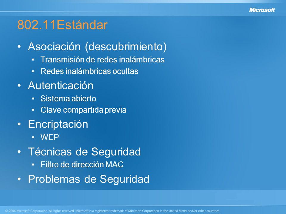 802.11Estándar Asociación (descubrimiento) Autenticación Encriptación