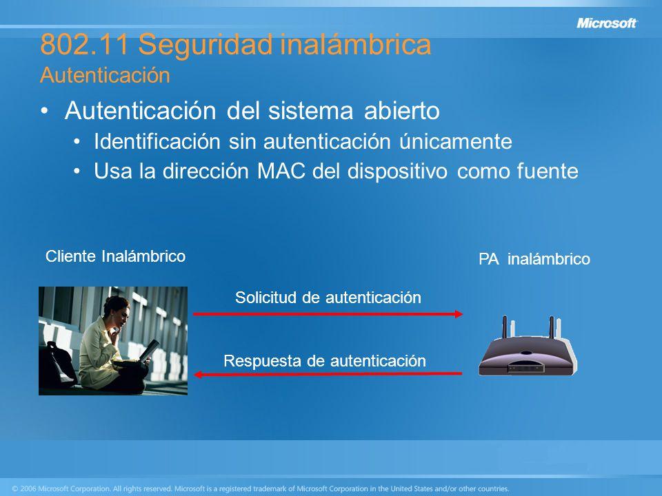 802.11 Seguridad inalámbrica Autenticación