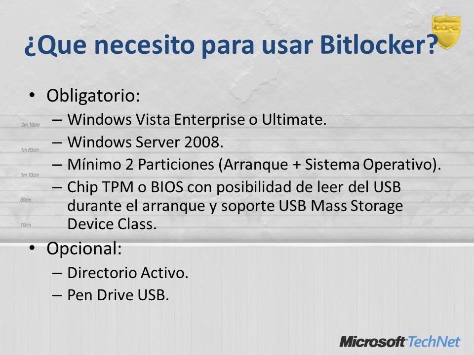 ¿Que necesito para usar Bitlocker