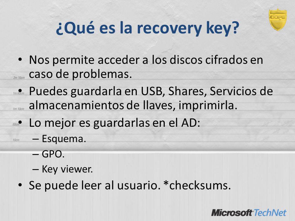 ¿Qué es la recovery key Nos permite acceder a los discos cifrados en caso de problemas.