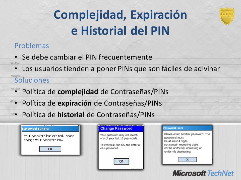 Complejidad, Expiración e Historial del PIN