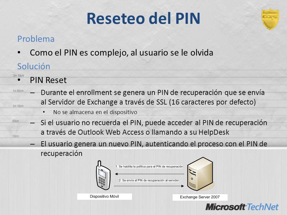 Reseteo del PIN Problema