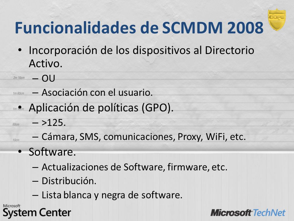 Funcionalidades de SCMDM 2008