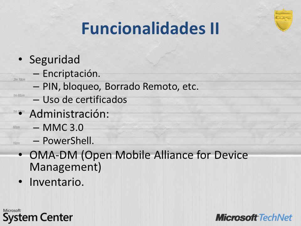 Funcionalidades II Seguridad Administración: