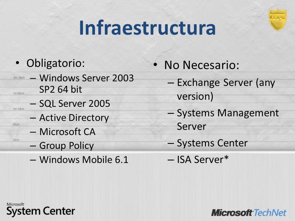 Infraestructura No Necesario: Obligatorio:
