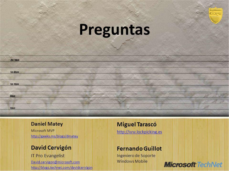 Preguntas Miguel Tarascó David Cervigón Fernando Guillot Daniel Matey