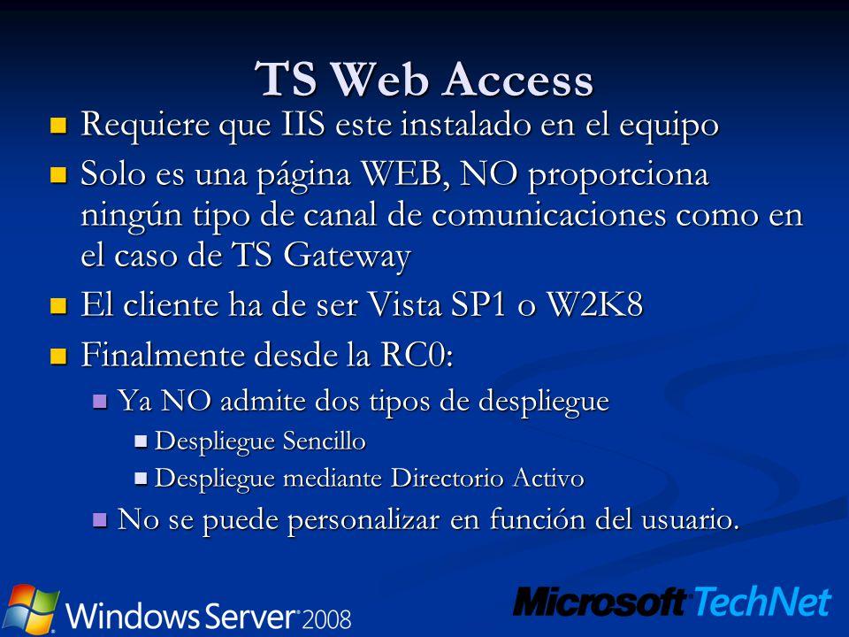 TS Web Access Requiere que IIS este instalado en el equipo
