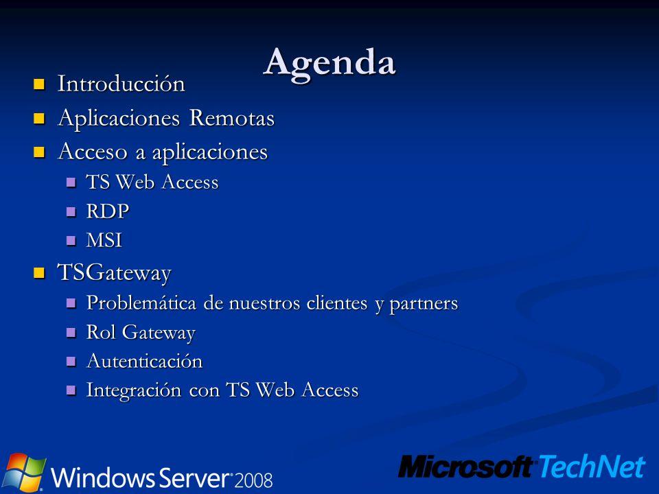 Agenda Introducción Aplicaciones Remotas Acceso a aplicaciones