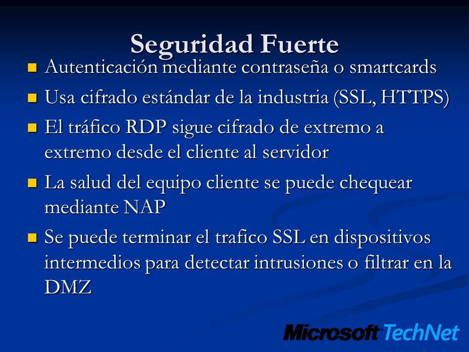Seguridad Fuerte Autenticación mediante contraseña o smartcards