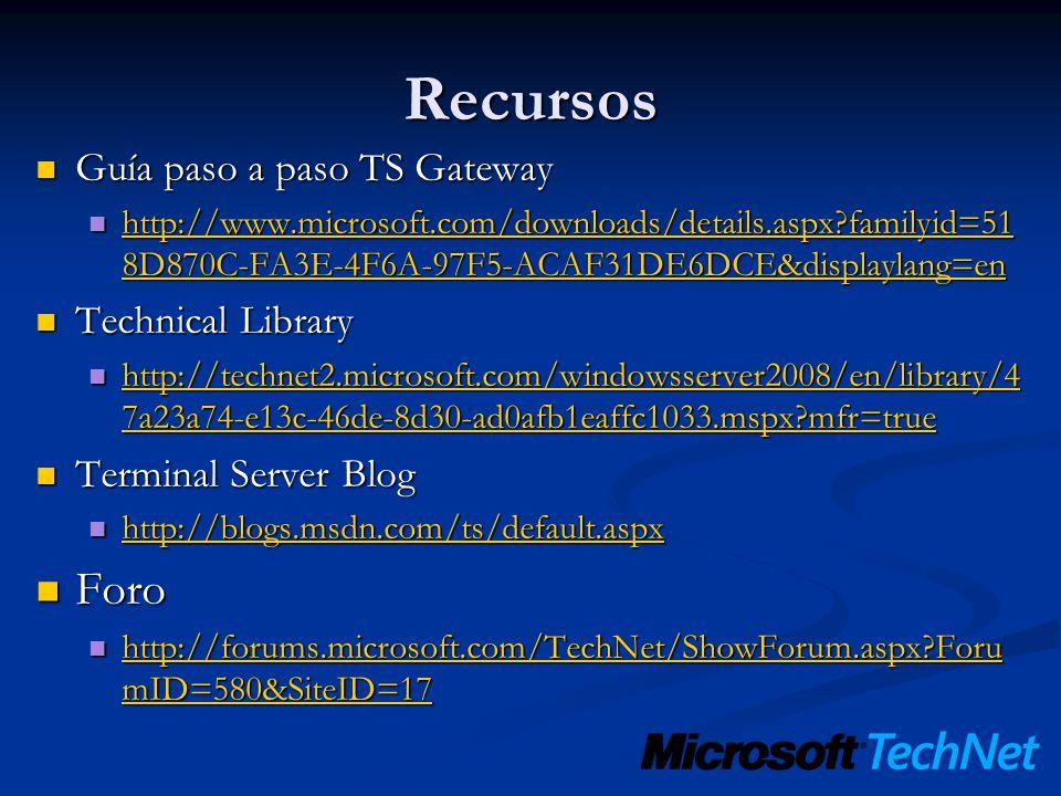 Recursos Foro Guía paso a paso TS Gateway Technical Library