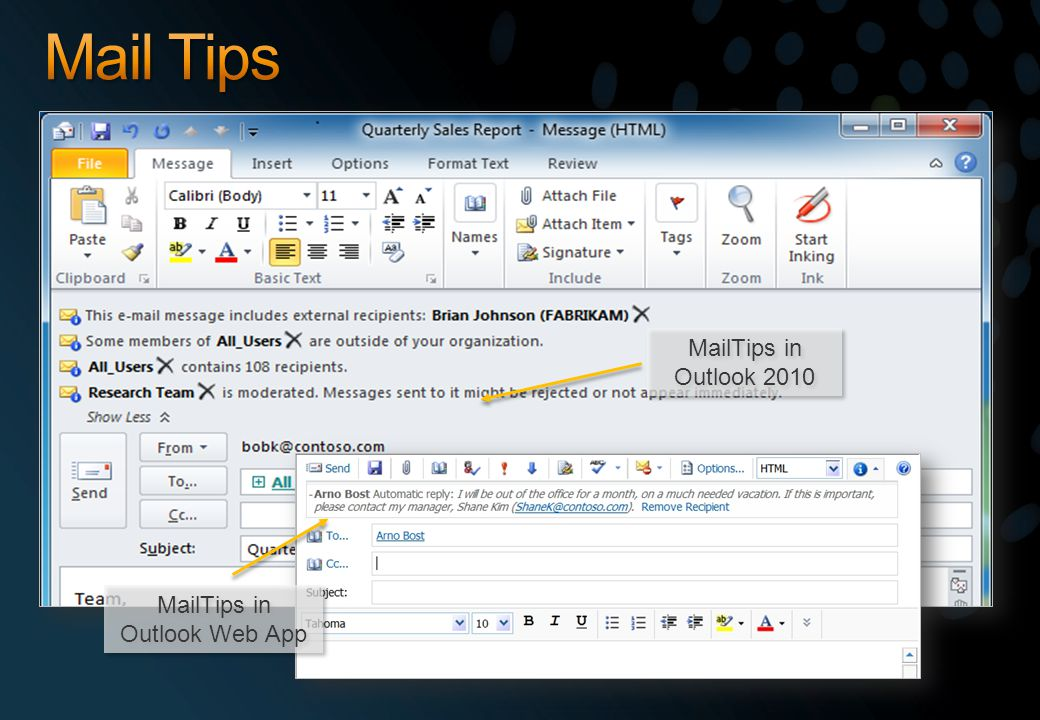 MailTips in Outlook Web App