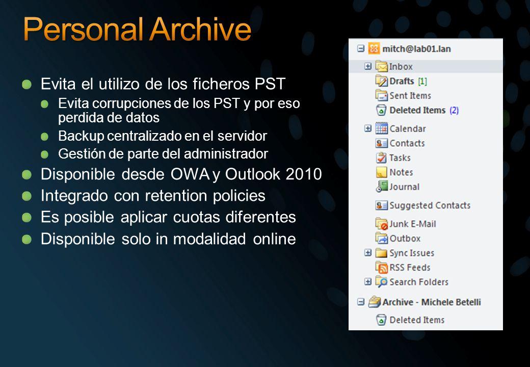 Personal Archive Evita el utilizo de los ficheros PST