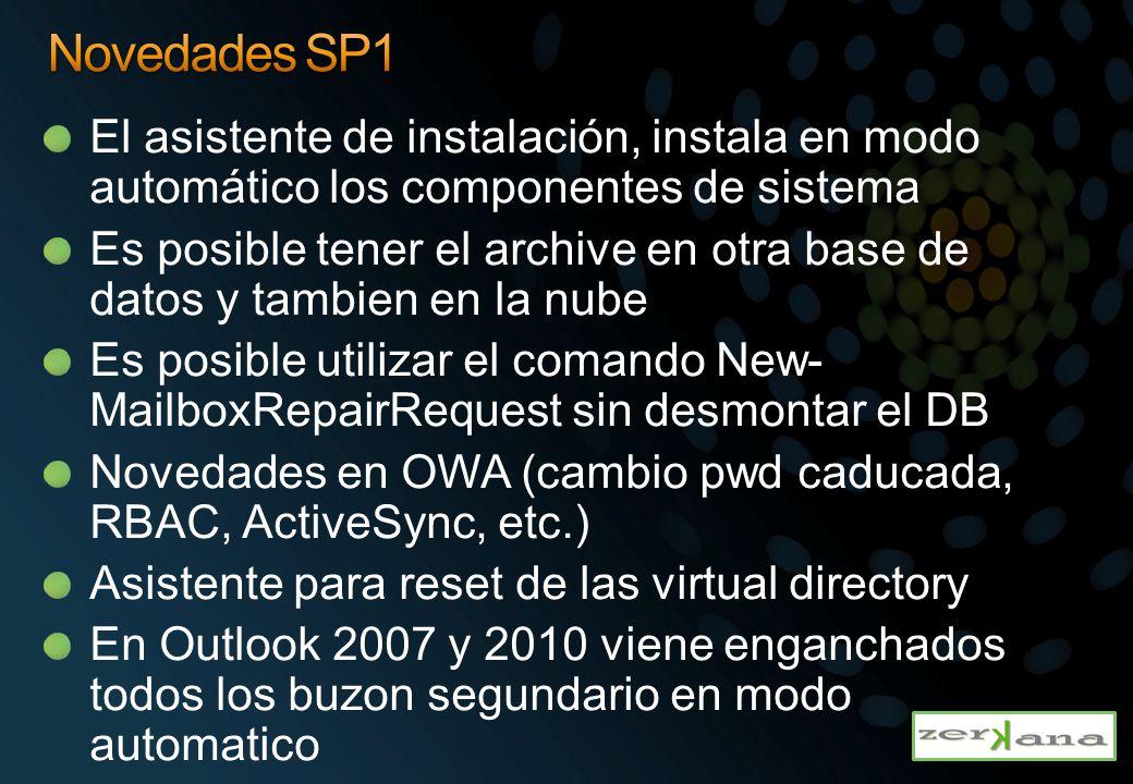 Novedades SP1 El asistente de instalación, instala en modo automático los componentes de sistema.