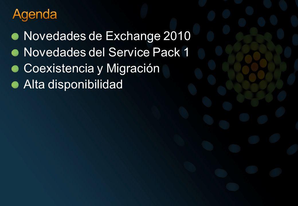 Agenda Novedades de Exchange 2010 Novedades del Service Pack 1