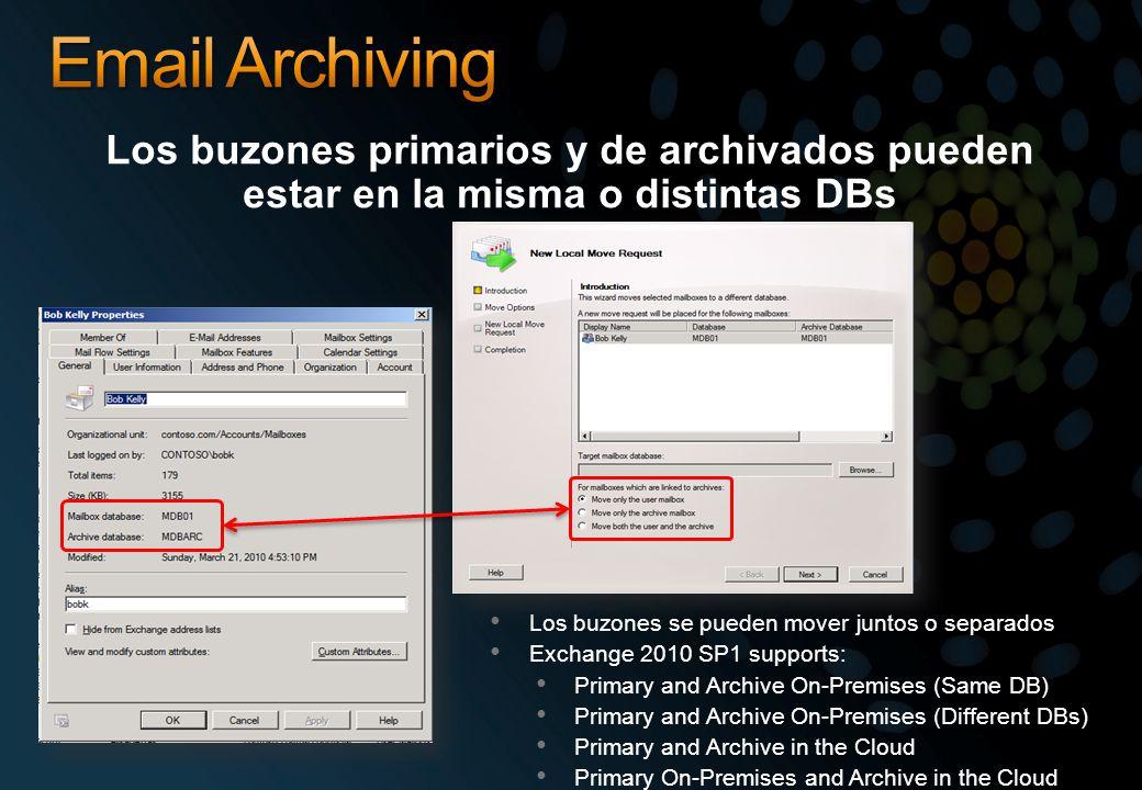 Email Archiving Los buzones primarios y de archivados pueden estar en la misma o distintas DBs. Los buzones se pueden mover juntos o separados.