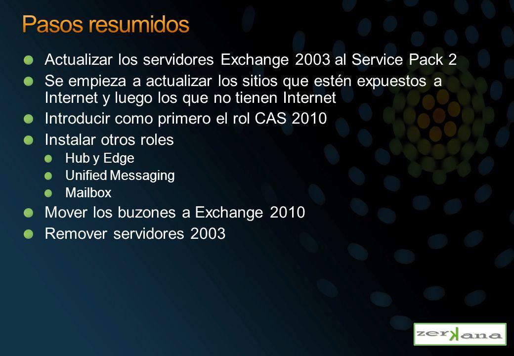 Pasos resumidos Actualizar los servidores Exchange 2003 al Service Pack 2.
