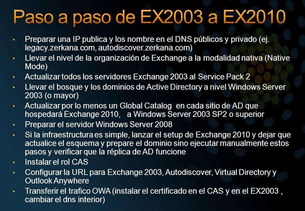 Paso a paso de EX2003 a EX2010 Preparar una IP publica y los nombre en el DNS públicos y privado (ej. legacy.zerkana.com, autodiscover.zerkana.com)