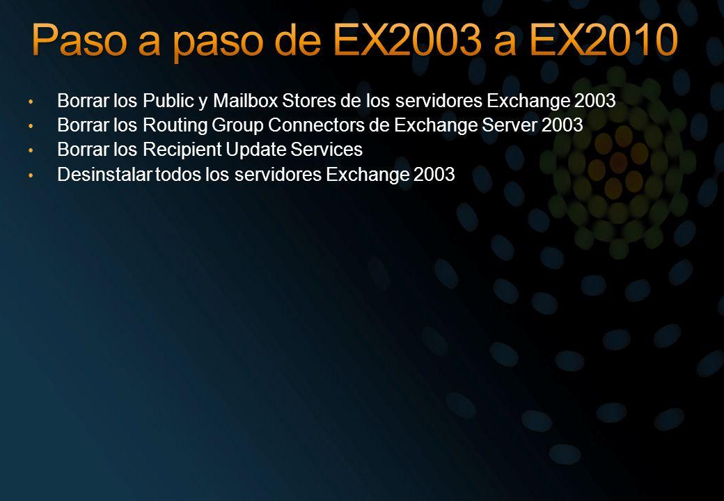 Paso a paso de EX2003 a EX2010 Borrar los Public y Mailbox Stores de los servidores Exchange 2003.
