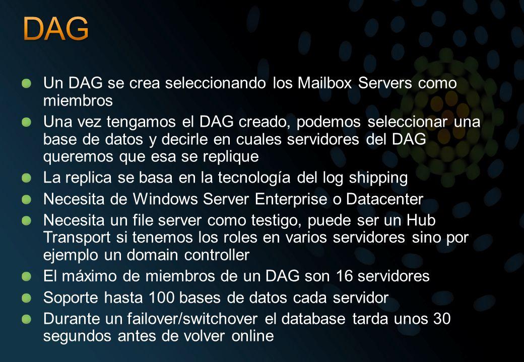 DAG Un DAG se crea seleccionando los Mailbox Servers como miembros