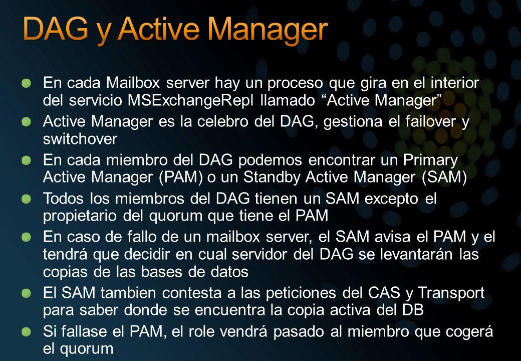 DAG y Active Manager En cada Mailbox server hay un proceso que gira en el interior del servicio MSExchangeRepl llamado Active Manager
