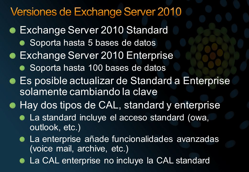 Versiones de Exchange Server 2010