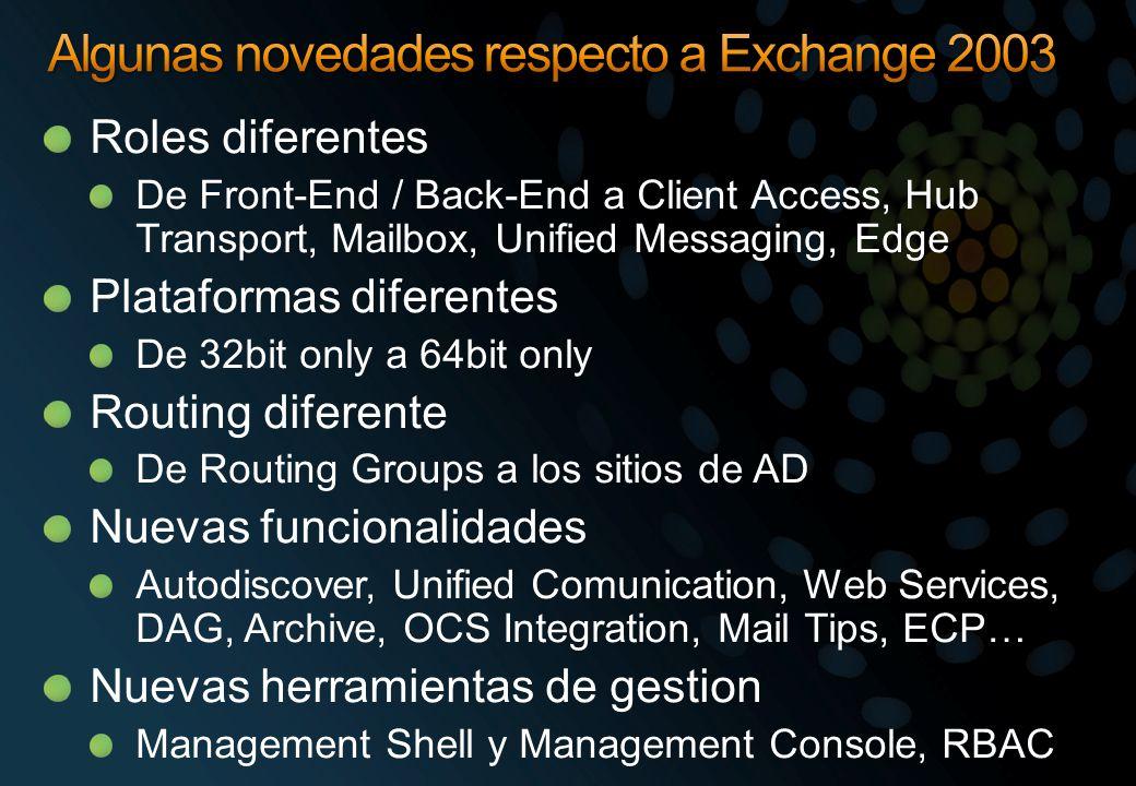 Algunas novedades respecto a Exchange 2003