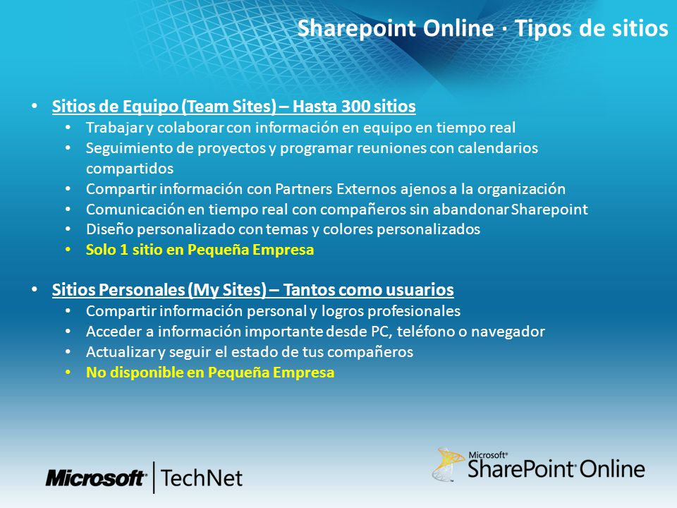 Sharepoint Online · Tipos de sitios