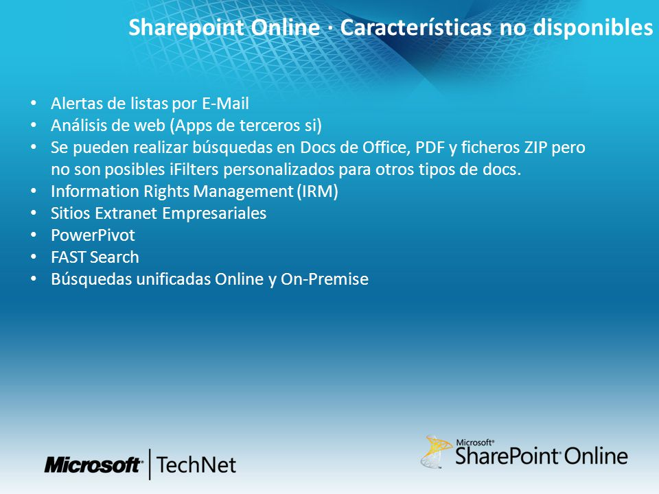 Sharepoint Online · Características no disponibles