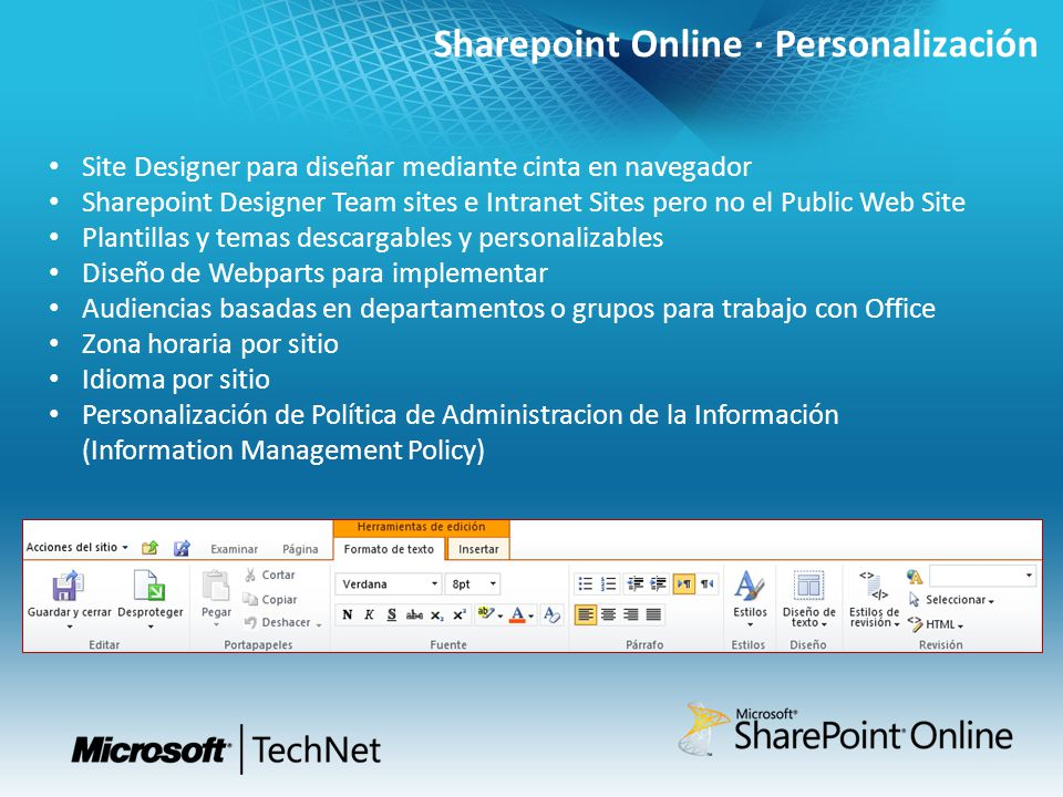 Sharepoint Online · Personalización