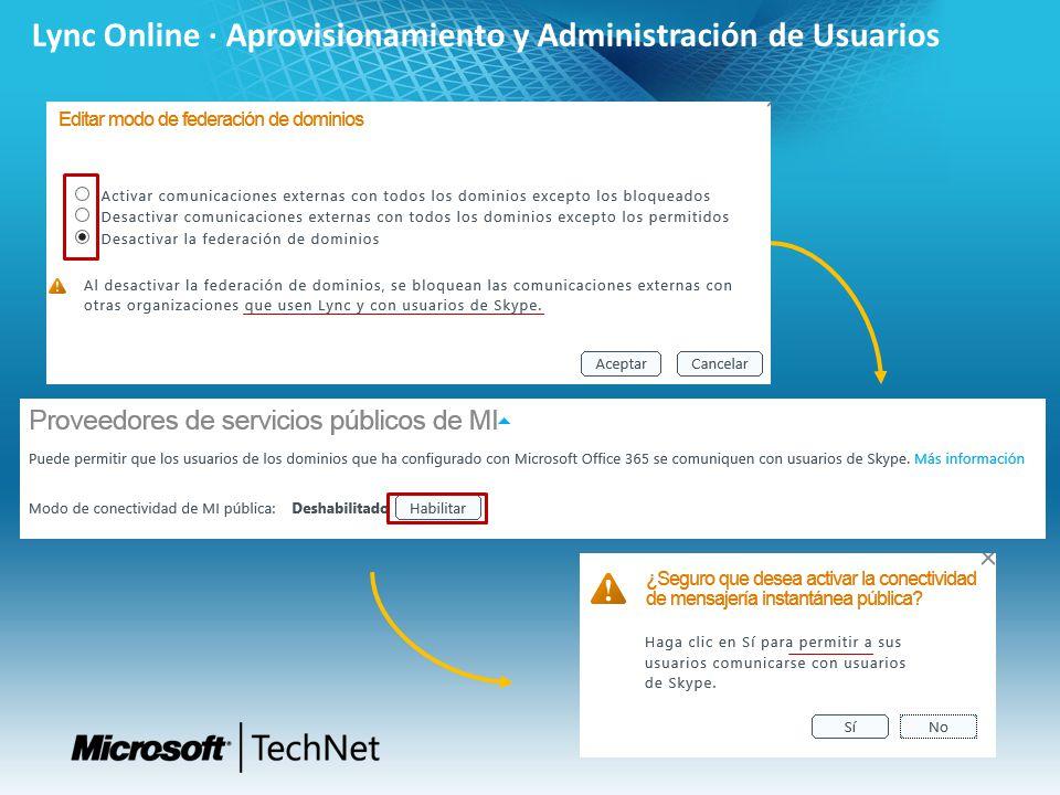 Lync Online · Aprovisionamiento y Administración de Usuarios