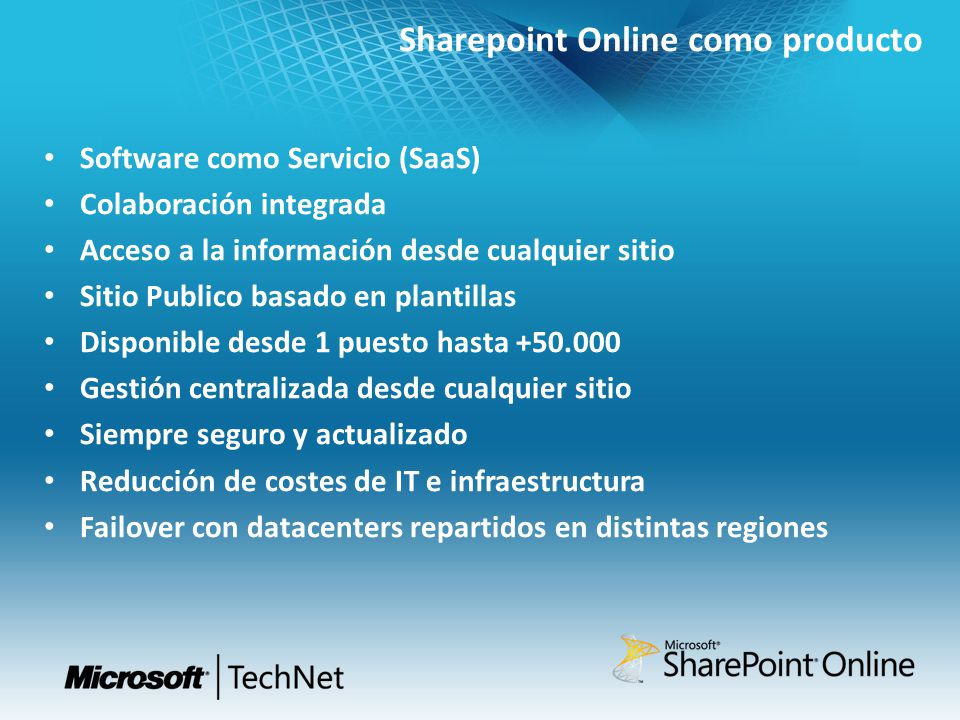 Sharepoint Online como producto