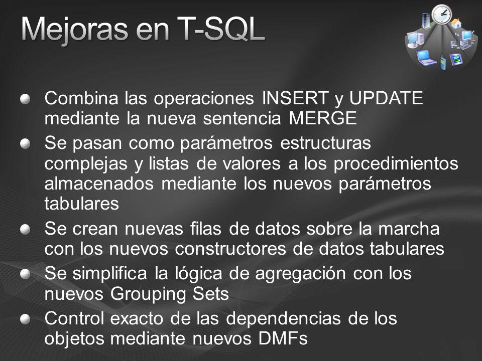 Mejoras en T-SQL Combina las operaciones INSERT y UPDATE mediante la nueva sentencia MERGE.