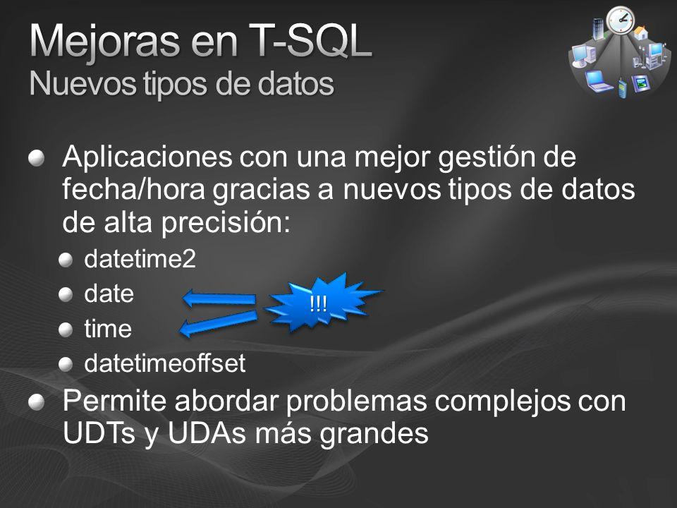 Mejoras en T-SQL Nuevos tipos de datos
